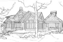 Log Exterior - Rear Elevation Plan #928-263