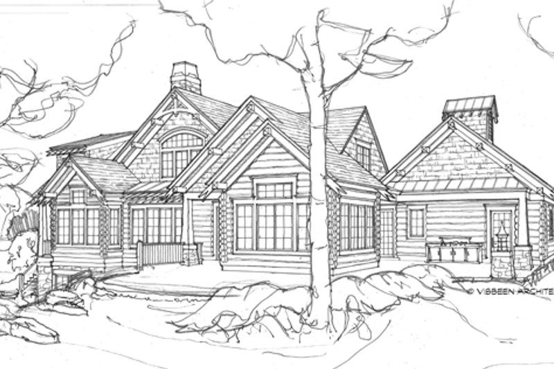 Log Exterior - Rear Elevation Plan #928-263 - Houseplans.com