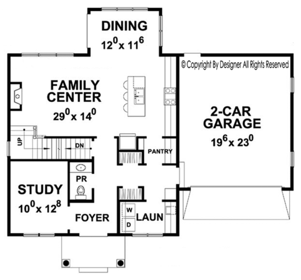 Colonial Floor Plan - Main Floor Plan Plan #20-2250