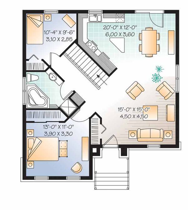 European Floor Plan - Main Floor Plan Plan #23-2501