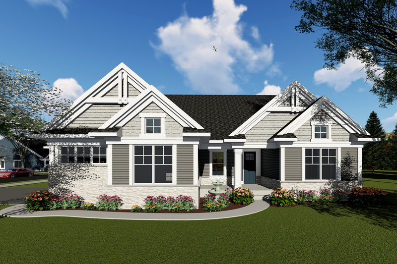Ranch Exterior - Front Elevation Plan #70-1420