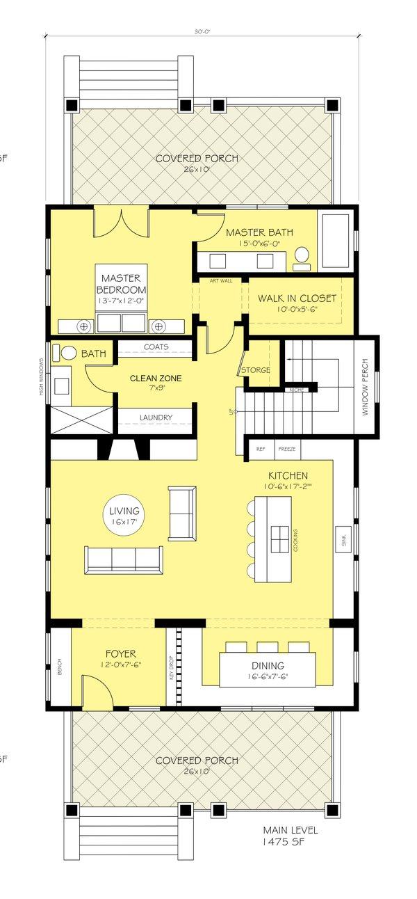 Craftsman Floor Plan - Main Floor Plan Plan #888-12