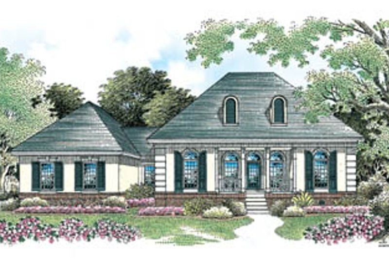 European Style House Plan - 3 Beds 2 Baths 1434 Sq/Ft Plan #45-110 Exterior - Front Elevation