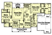 Colonial Style House Plan - 4 Beds 3.5 Baths 2500 Sq/Ft Plan #430-35 Floor Plan - Main Floor Plan