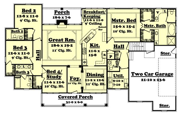 Home Plan - Colonial Floor Plan - Main Floor Plan #430-35