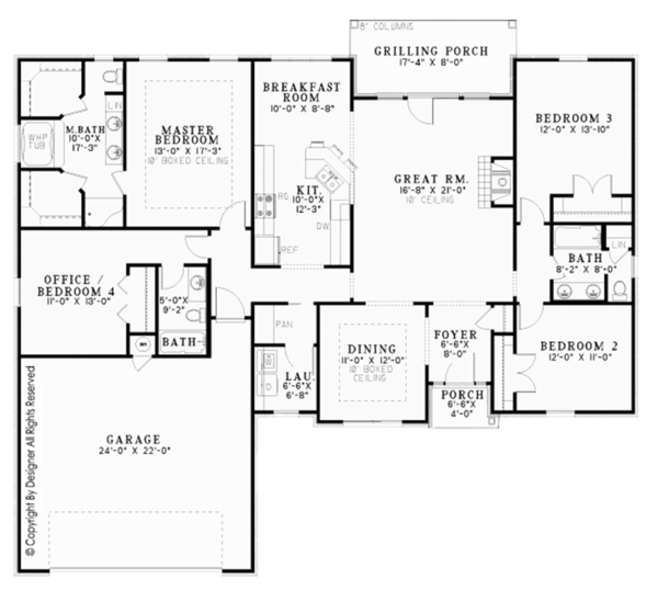 Country Floor Plan - Main Floor Plan Plan #17-3304