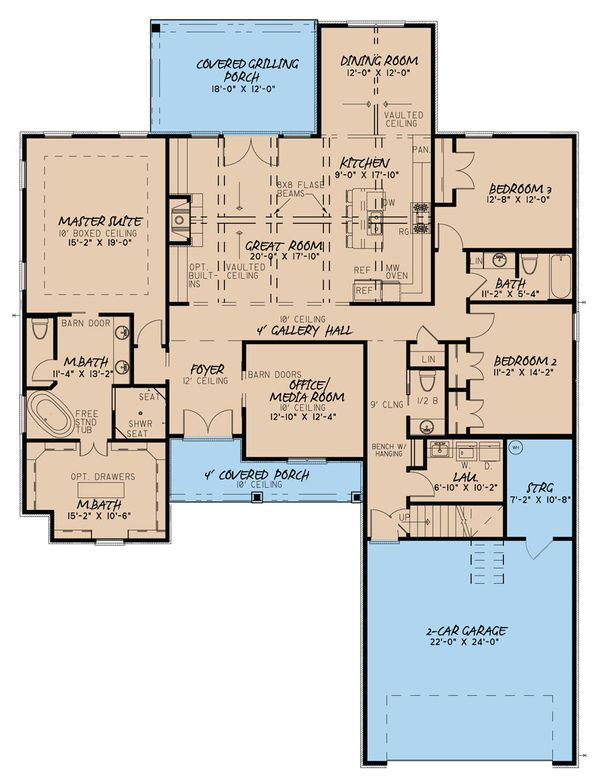 Traditional Floor Plan - Main Floor Plan Plan #923-32