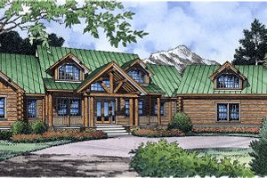 Log Exterior - Front Elevation Plan #417-412