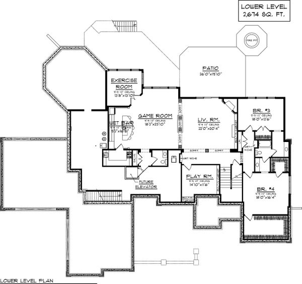 House Plan Design - Lower Level floor plan - 7000 square foot Traditional home