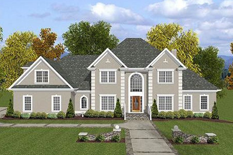 European Exterior - Front Elevation Plan #56-214