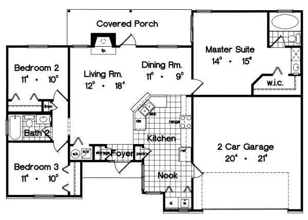 Ranch Floor Plan - Main Floor Plan Plan #417-113