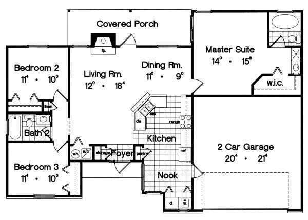 Ranch Floor Plan - Main Floor Plan #417-113