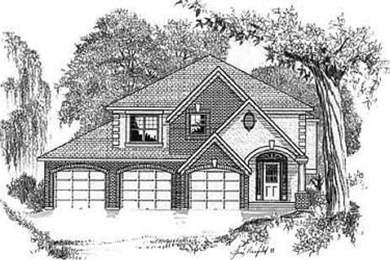 European Style House Plan - 3 Beds 2 Baths 1344 Sq/Ft Plan #409-106 Exterior - Front Elevation