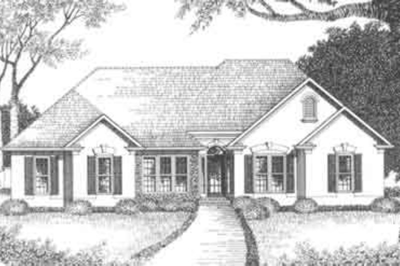Mediterranean Style House Plan - 3 Beds 2 Baths 1629 Sq/Ft Plan #129-113 Exterior - Front Elevation