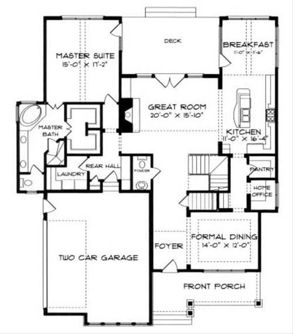 European Floor Plan - Main Floor Plan Plan #413-104