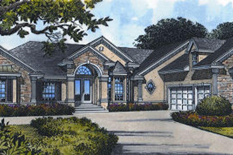 European Style House Plan - 4 Beds 4 Baths 2755 Sq/Ft Plan #417-329 Exterior - Front Elevation