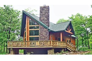 Cabin Exterior - Front Elevation Plan #314-285