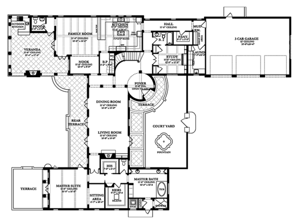 Mediterranean Floor Plan - Main Floor Plan Plan #1058-15