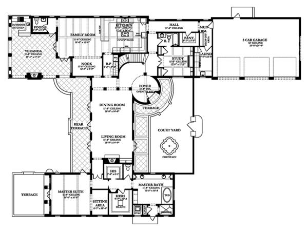 Mediterranean Floor Plan - Main Floor Plan Plan #1058-15