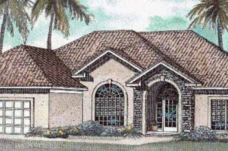 Dream House Plan - Mediterranean Exterior - Front Elevation Plan #17-3082