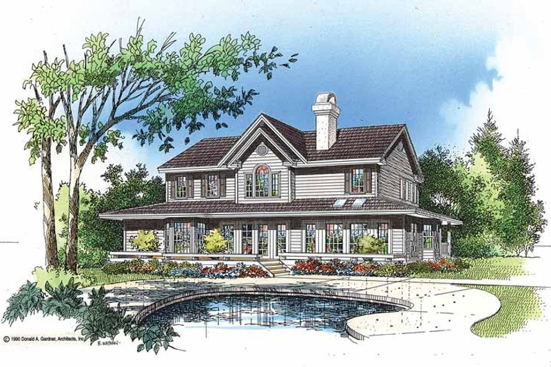 Country Exterior - Rear Elevation Plan #929-75 - Houseplans.com