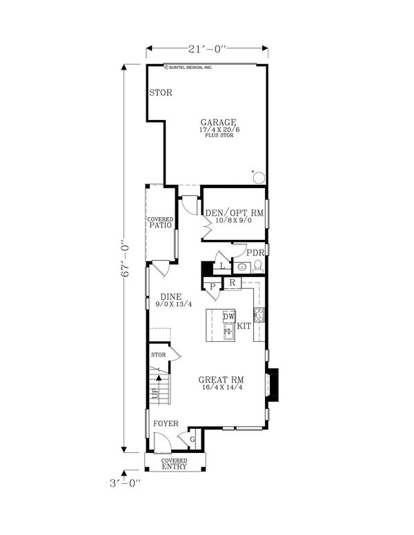 Contemporary Floor Plan - Main Floor Plan Plan #53-618