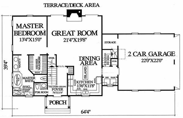 Colonial Floor Plan - Main Floor Plan Plan #137-180