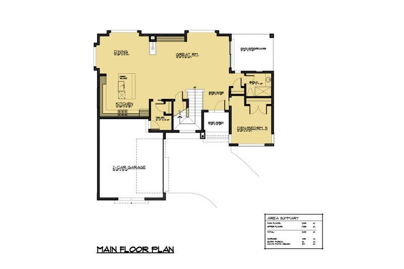 Contemporary Floor Plan - Main Floor Plan Plan #1066-49