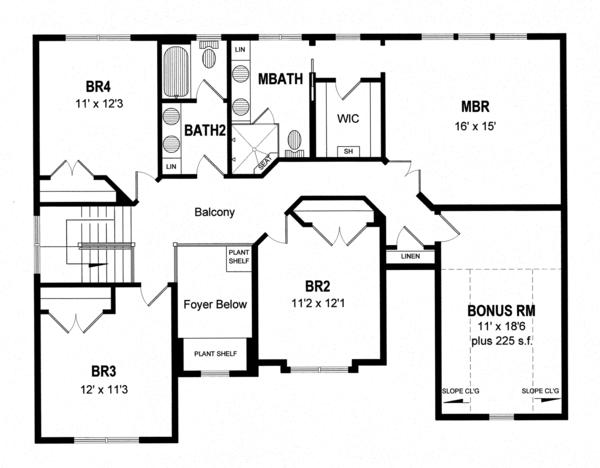 Traditional Floor Plan - Upper Floor Plan Plan #316-289