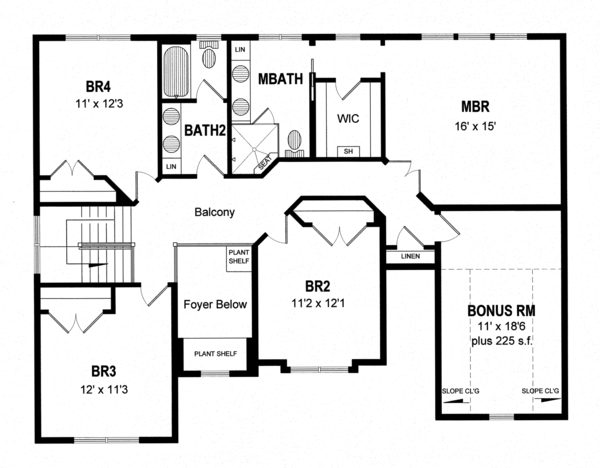 Traditional Floor Plan - Upper Floor Plan Plan #316-289