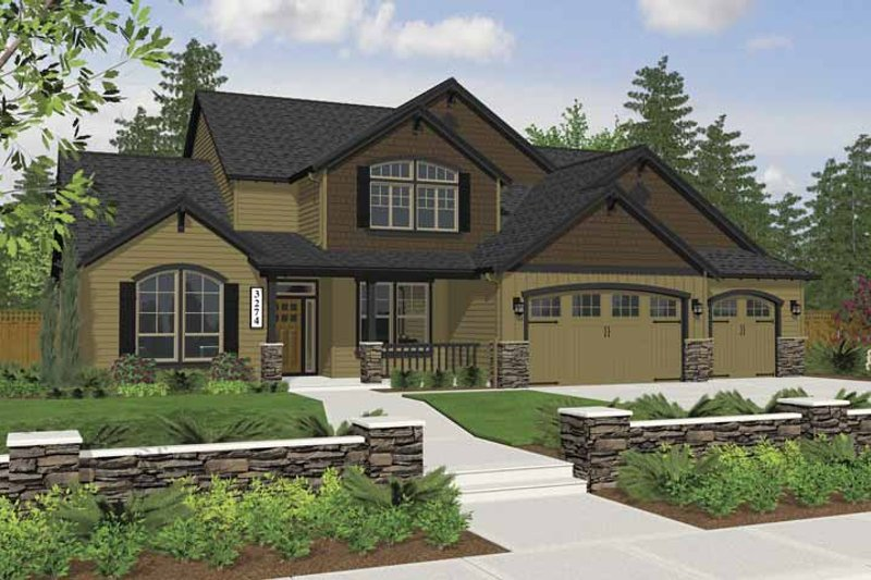 Craftsman Style House Plan - 3 Beds 2.5 Baths 3274 Sq/Ft Plan #943-7 Exterior - Front Elevation