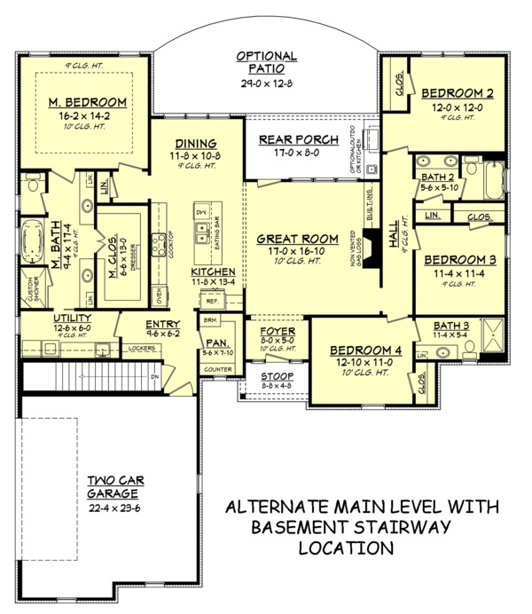 Home Plan - Alternate with Basement Stairway