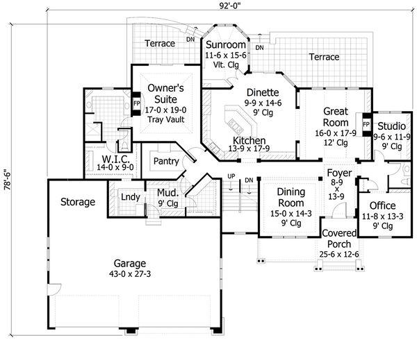 Craftsman Style House Plan - 4 Beds 3.5 Baths 4427 Sq/Ft Plan #51-556 Floor Plan - Main Floor Plan