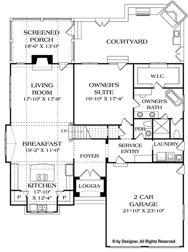 European Floor Plan - Main Floor Plan Plan #453-624