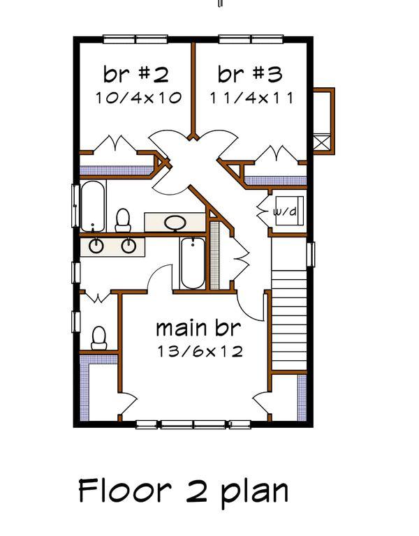 Craftsman Floor Plan - Upper Floor Plan #79-315