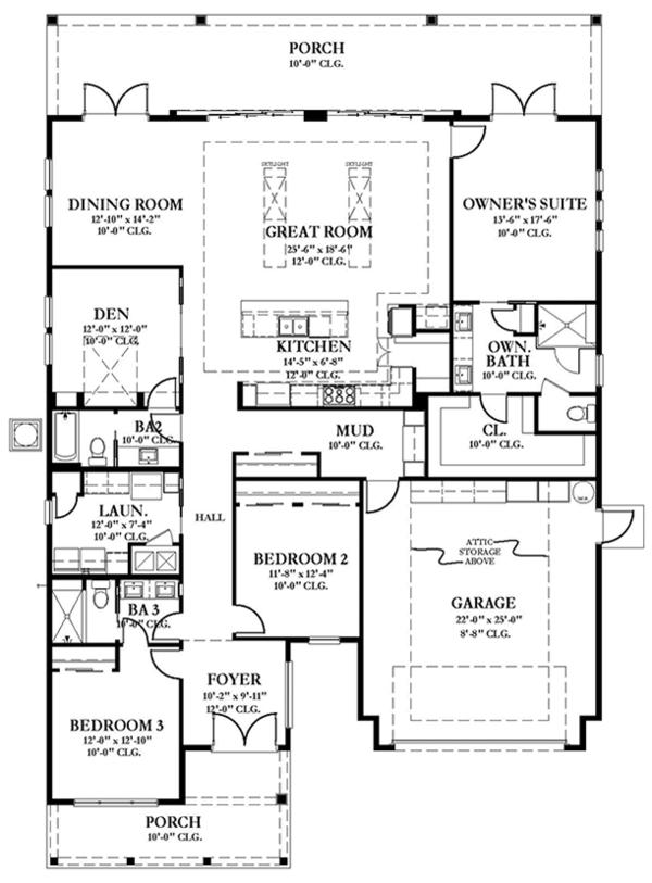 Colonial Floor Plan - Main Floor Plan Plan #1058-148