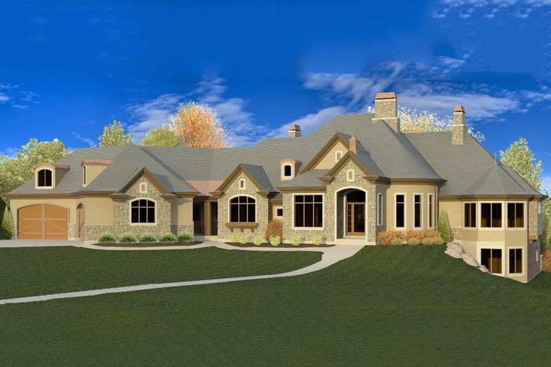 European Style House Plan - 7 Beds 5.5 Baths 9235 Sq/Ft Plan #920-63 Exterior - Front Elevation