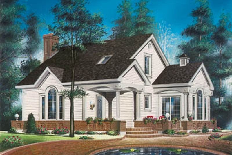 Country Style House Plan - 3 Beds 2.5 Baths 1405 Sq/Ft Plan #23-218 Exterior - Front Elevation