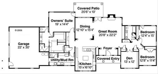 Craftsman Floor Plan - Main Floor Plan Plan #124-754