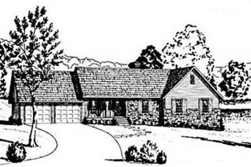 Architectural House Design - Ranch Exterior - Front Elevation Plan #36-144