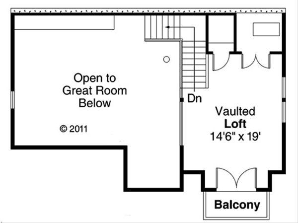 Craftsman Floor Plan - Upper Floor Plan Plan #124-554