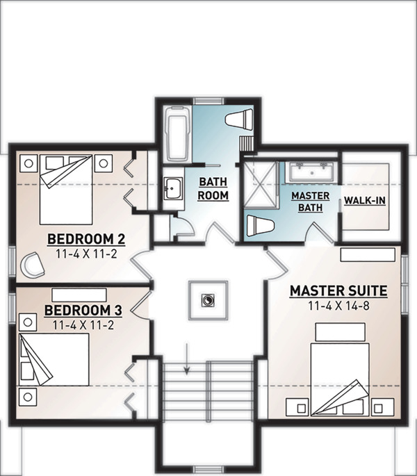 House Plan Design - Modern Floor Plan - Upper Floor Plan #23-2682