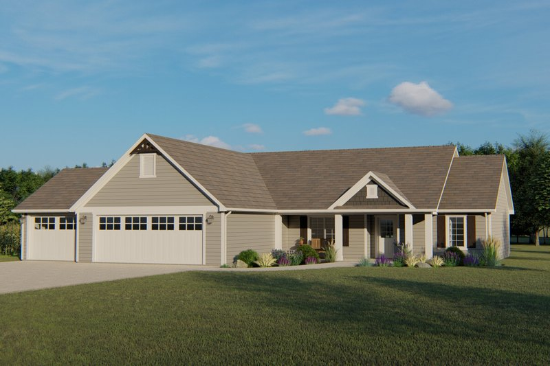 Ranch Style House Plan - 3 Beds 2 Baths 1757 Sq/Ft Plan #1064-88 Exterior - Front Elevation