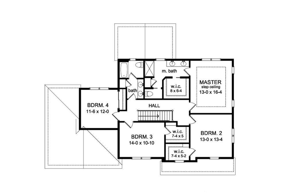 Colonial Style House Plan 4 Beds 2 5 Baths 2533 Sq Ft 1010