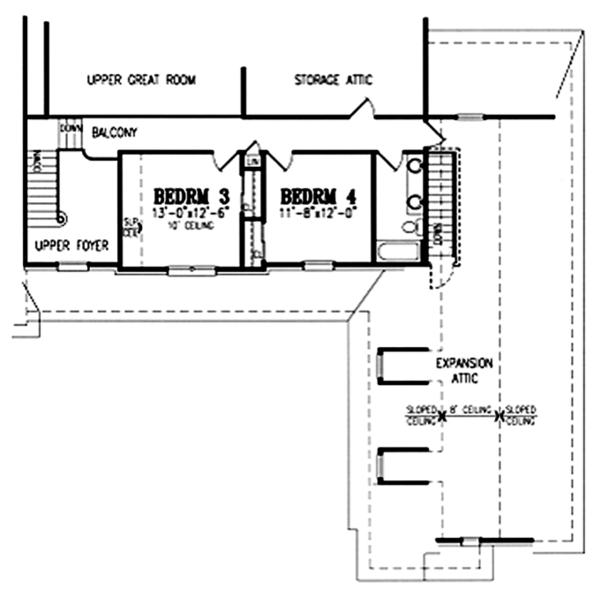 Traditional Floor Plan - Upper Floor Plan Plan #314-275