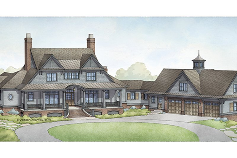 Country Style House Plan - 4 Beds 4.5 Baths 5270 Sq/Ft Plan #928-285 Exterior - Front Elevation