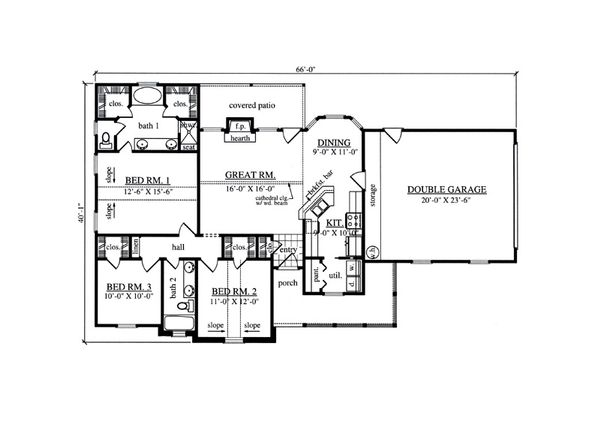 Farmhouse Floor Plan - Main Floor Plan #42-404