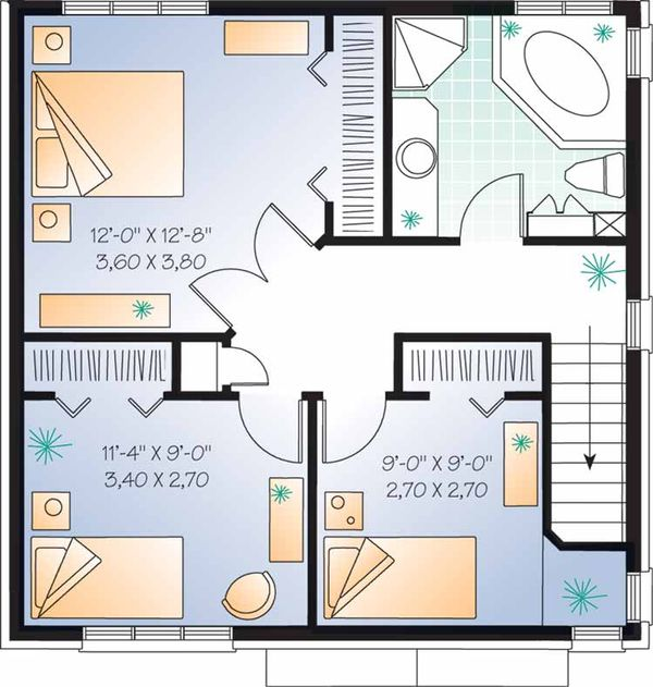 European Floor Plan - Upper Floor Plan Plan #23-2449