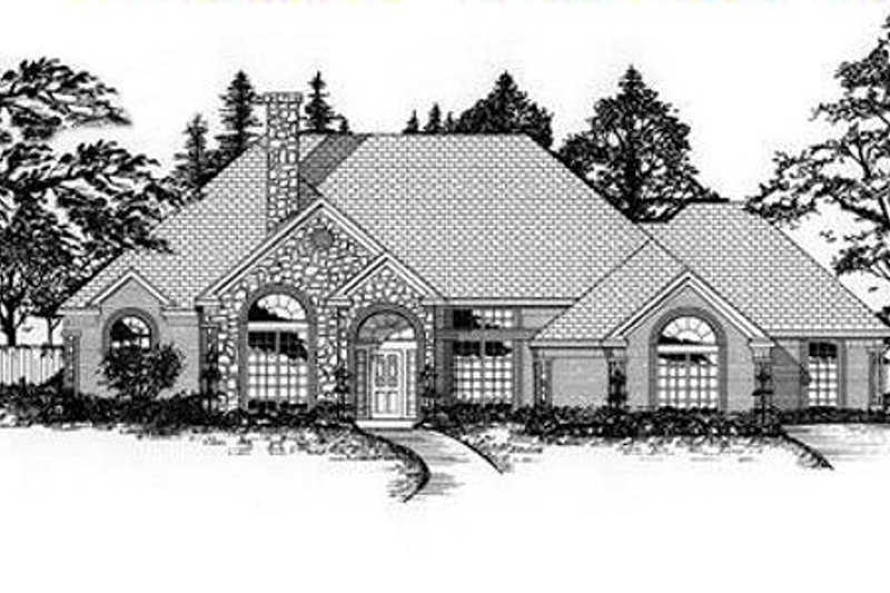 European Style House Plan - 4 Beds 3 Baths 2560 Sq/Ft Plan #62-115 Exterior - Front Elevation
