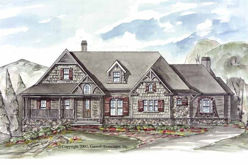 Craftsman Exterior - Front Elevation Plan #54-257